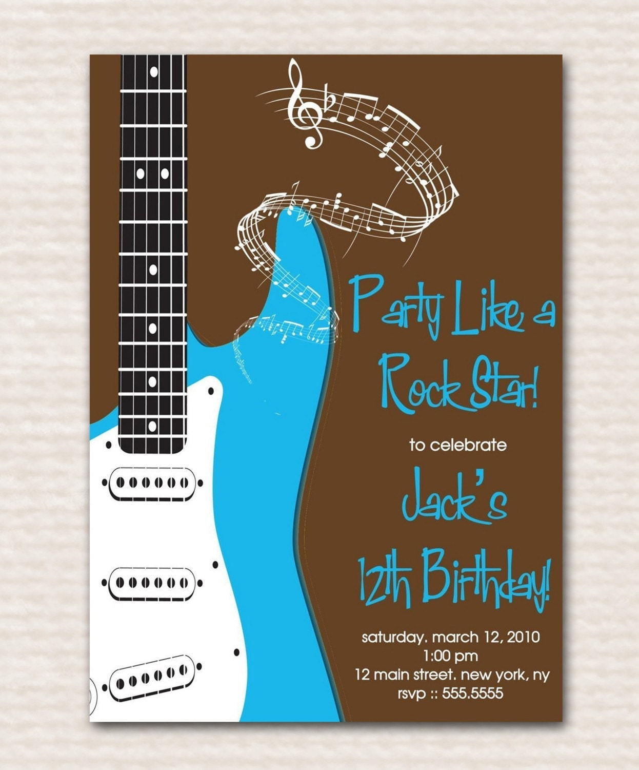 Items Similar To Birthday Party Rockstar Guitar Blue