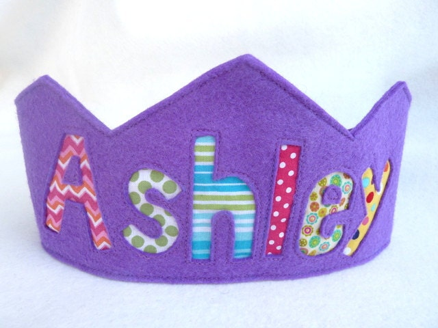 Felt Crown Birthday Crown -  Personalized - PURPLE - FeltLikeCelebrating