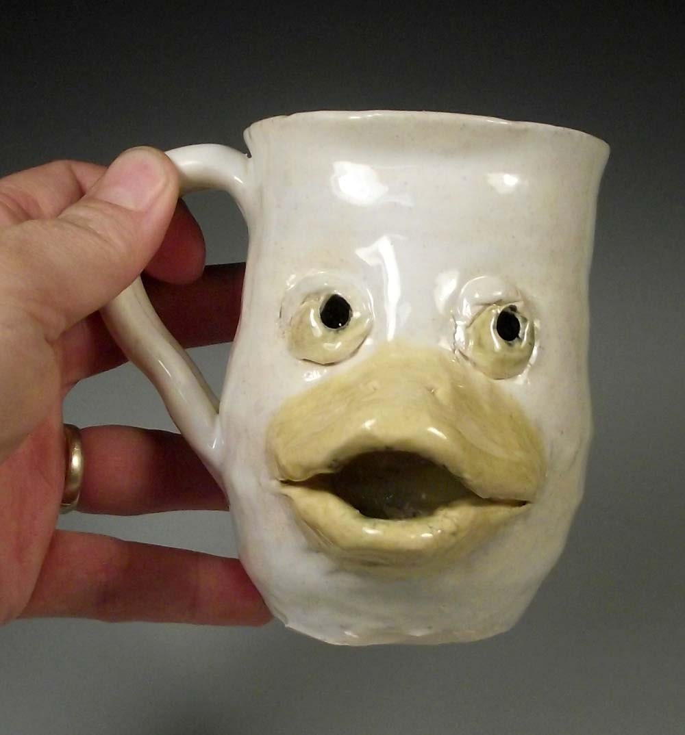 Lucky duck white duckling animal face mug by mudpiepotteryshop for Animal face mugs