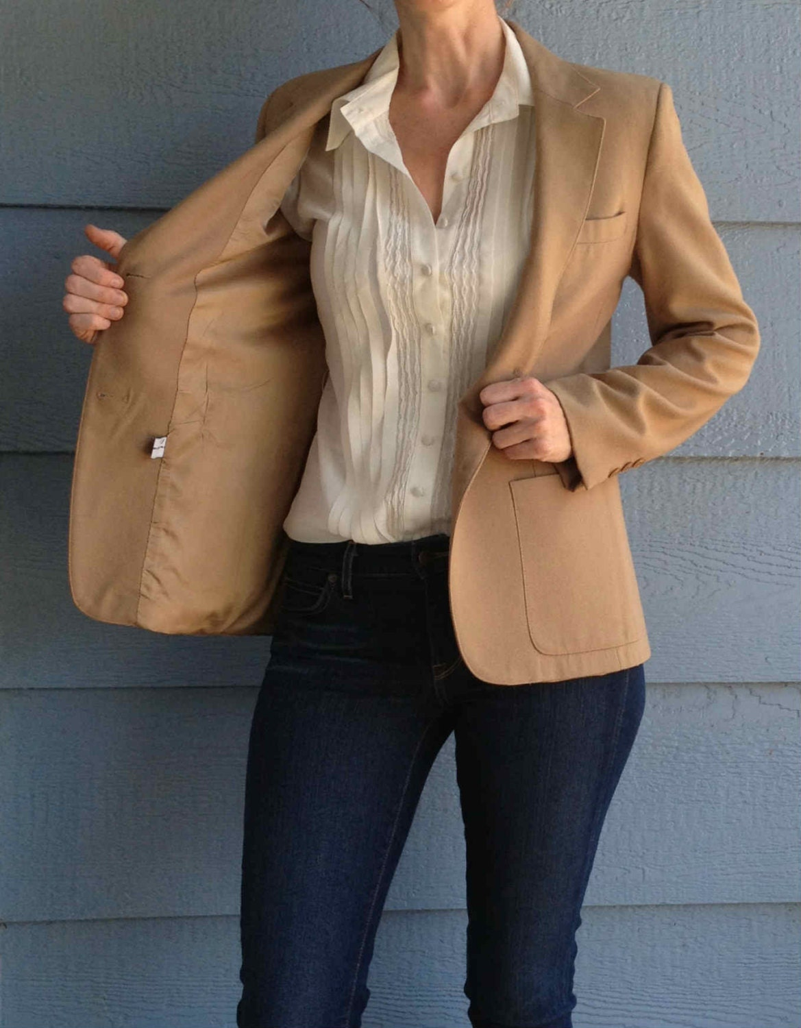 Wool Camel Color Womens Blazer Light By Helicopterecouture