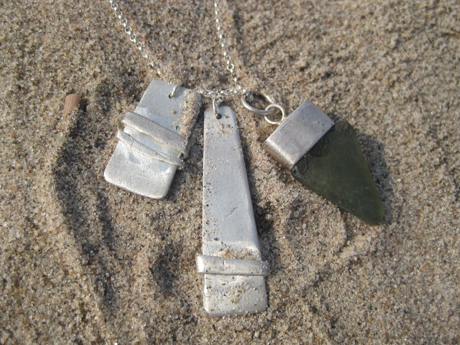 Silver and Glass 3-Charm Necklace