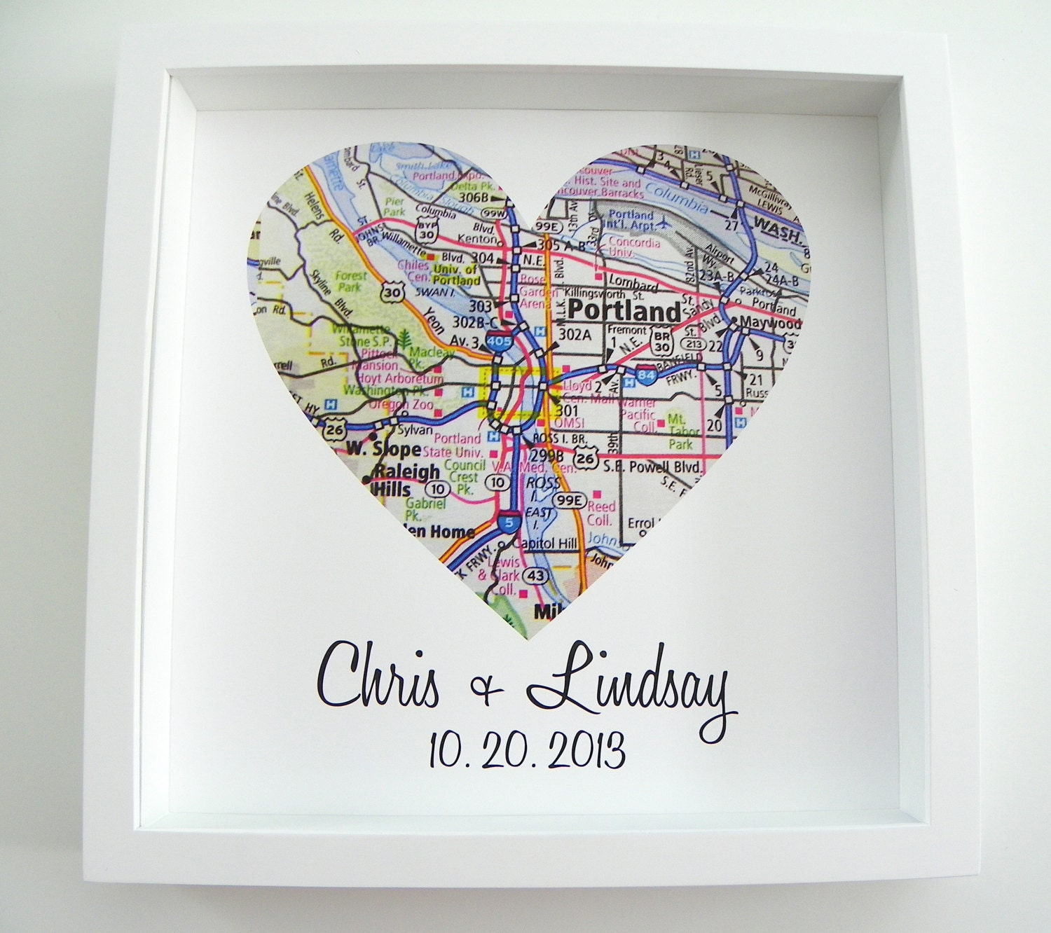Wedding Gift Heart Map Framed Print By Definedesign11 On