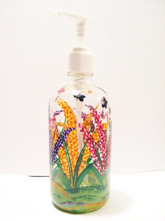 Hand Painted Glass Soap Dispenser Bottle With By