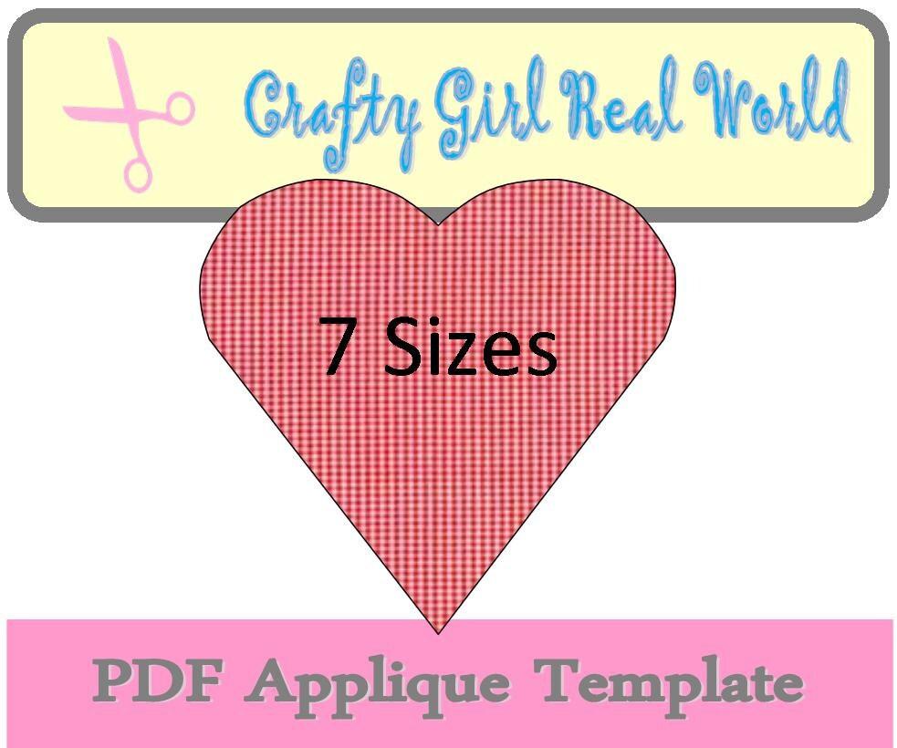 Heart Applique PDF Printable Template