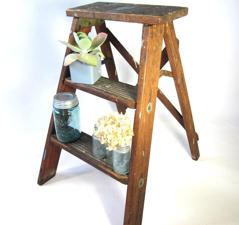 Step Stool Kitchen Stool Shabby Chic Wood By Oldgoatandhorse