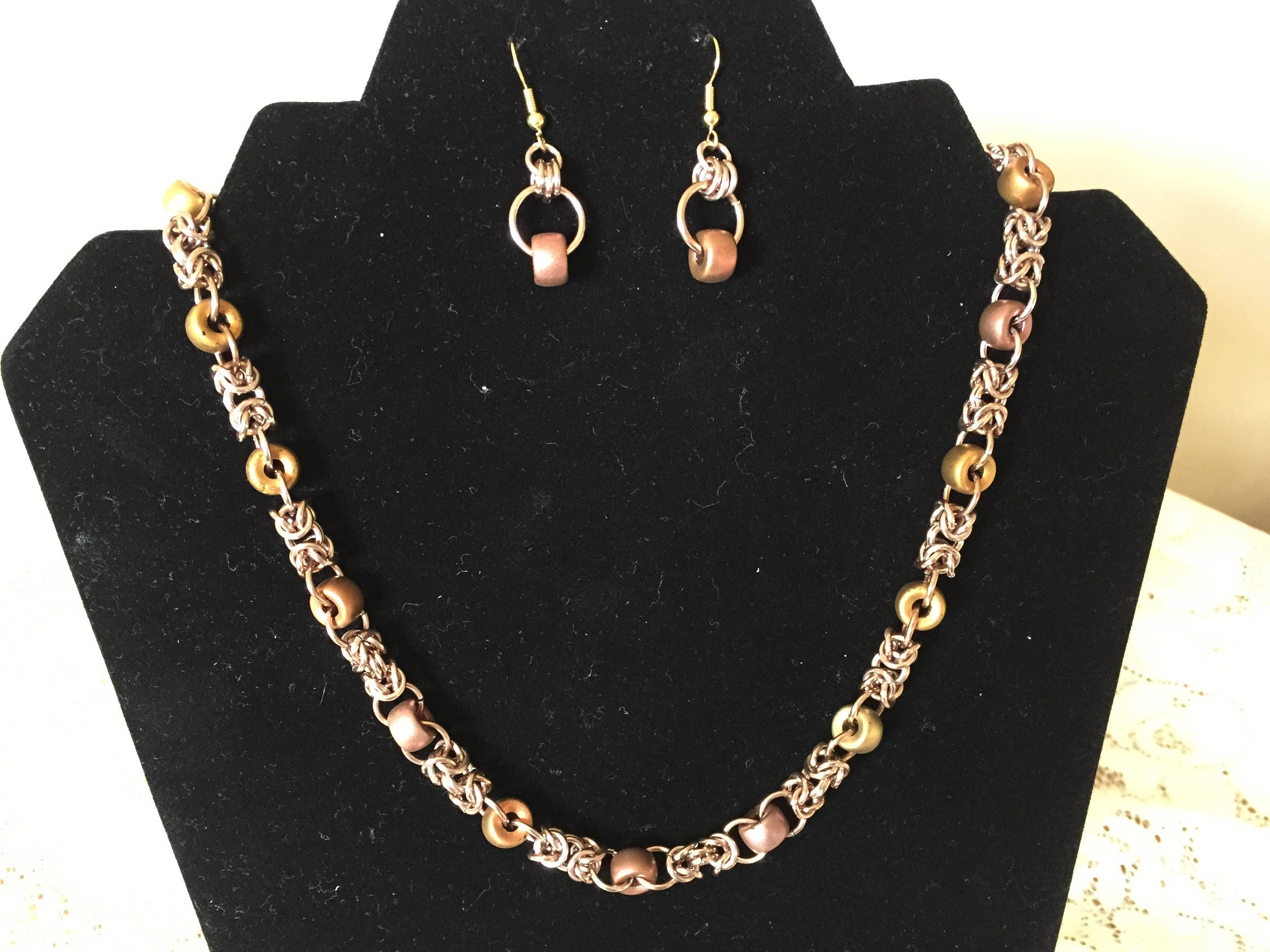 Filigree Byzantine chain mail and glass bead necklace your choice of colour bracelet and earrings also available