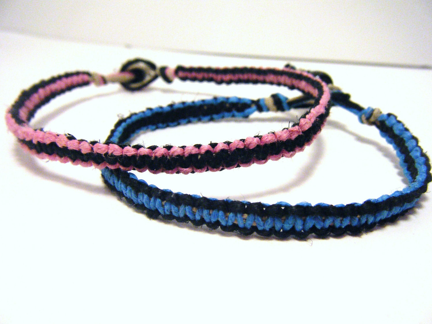 Couples Colored Hemp Bracelets Set of 2 MADE TO ORDER-1 Week production time