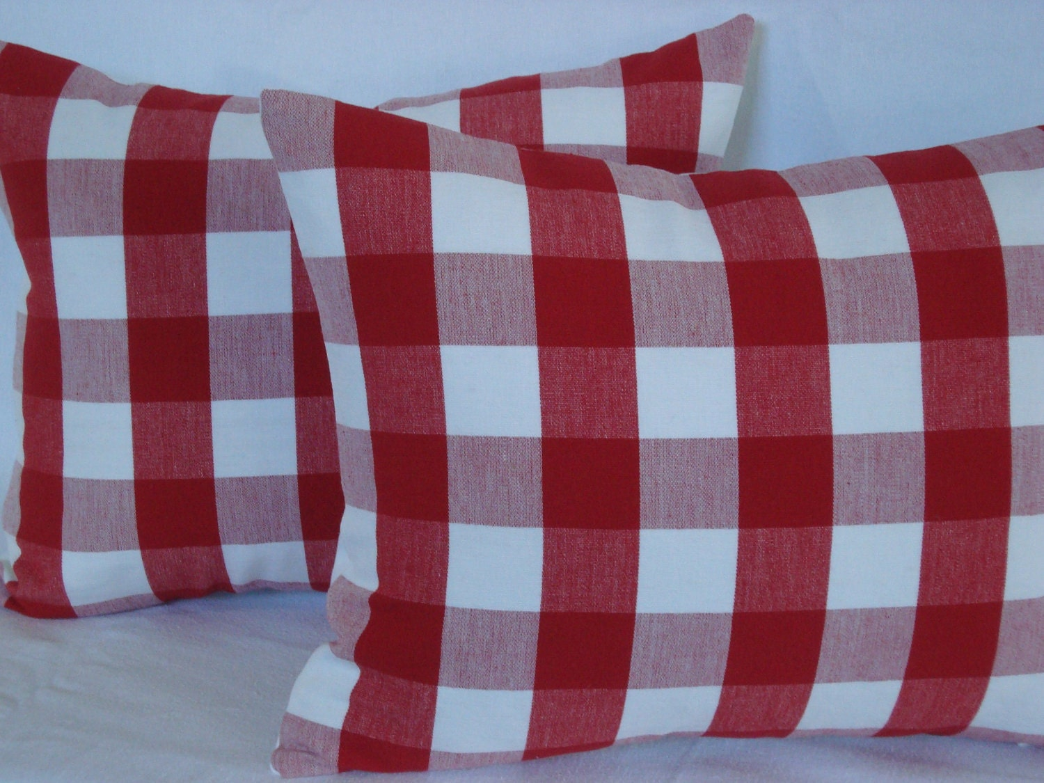 Woven Red and White Check  Cottage Chic Decorative Accent Lumbar Pillow 17X13 - CreativeTouchDecor