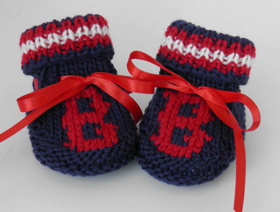 Boston Red Sox MLB Hand Knit Baby Booties Size 0 to 3 months - BabywearbyBabs