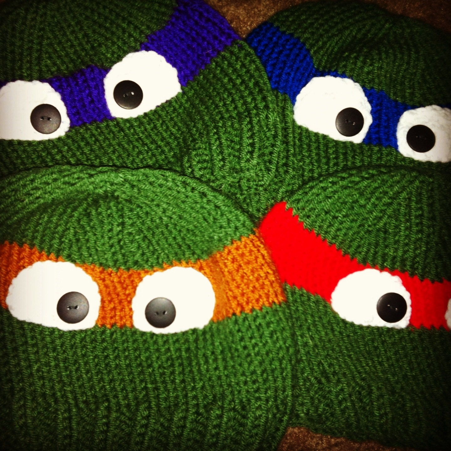 Knitting Pattern Turtle Hat : Childrens hand knitted ninja turtle beanie by NiftyNookDesigns