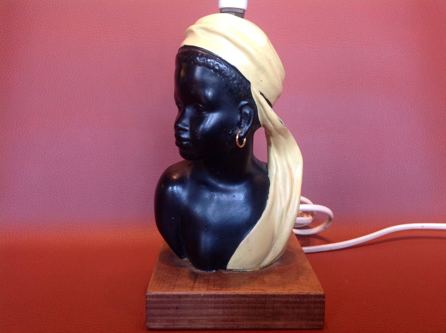 Image of 1950s Duron Chalkware Blackamoor Maiden Lamp.