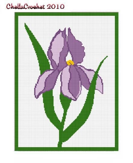 Free Crochet Pattern For Iris Flower : INSTANT DOWNLOAD Chella Crochet Beautiful Iris by ...