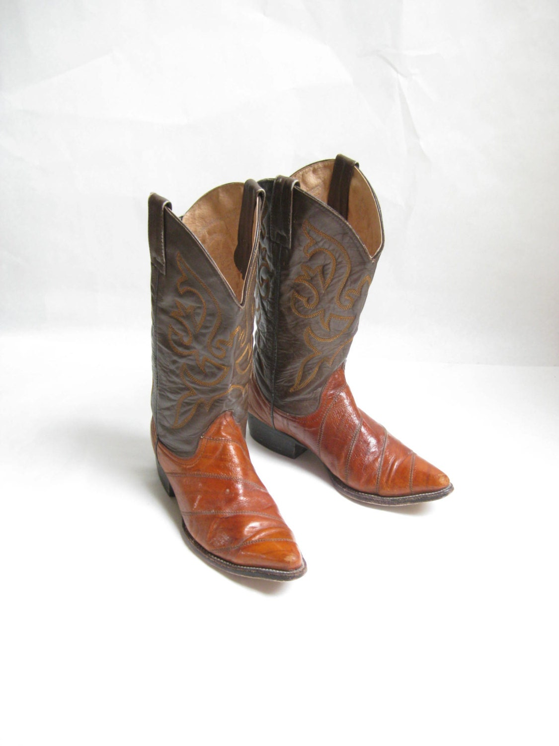 vintage two tone eel skin leather cowboy boots by