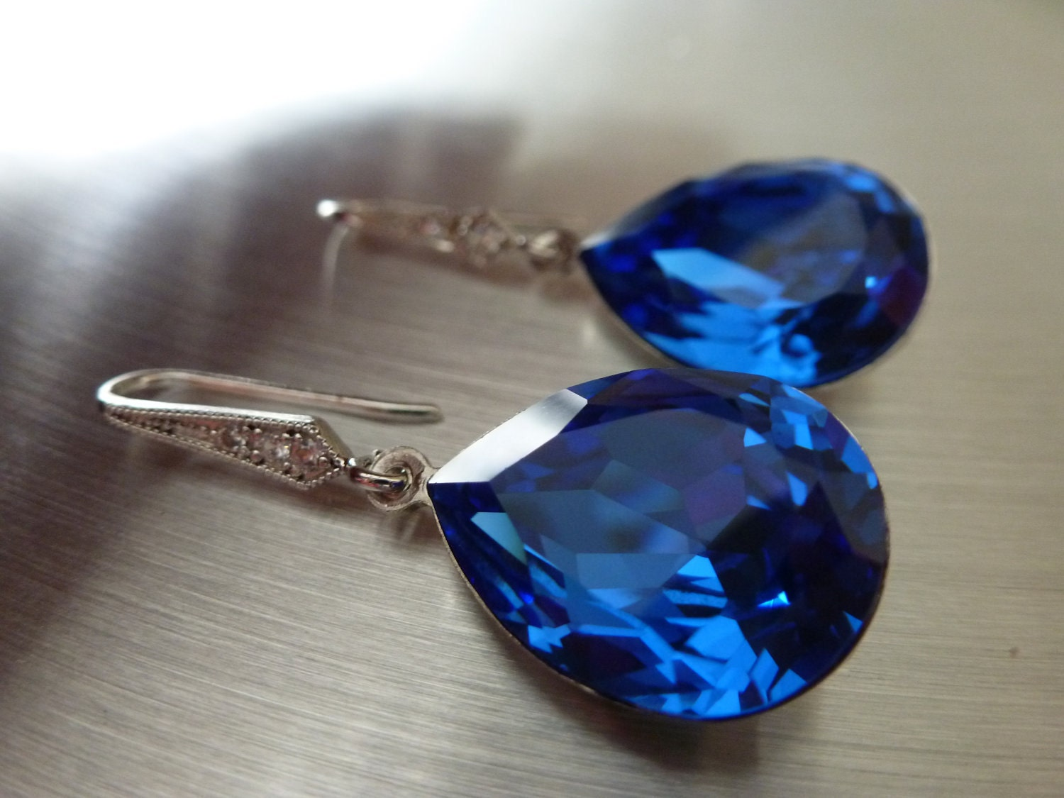 Blue  Earrings Crystal  Teardrop Swarovski  -  Bridal Earrings Bridesmaid Earrings - LIMITED EDITION