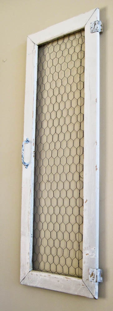 Shabby Chicken Wire Cabinet Door Wall Hanging By