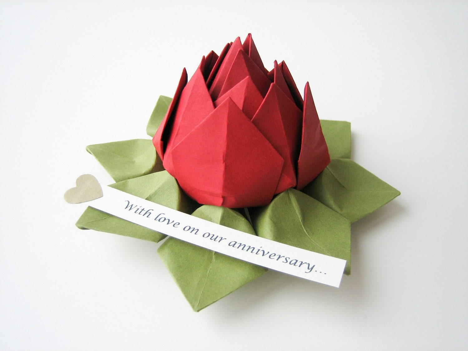 origami lotus flower with personalized romantic by