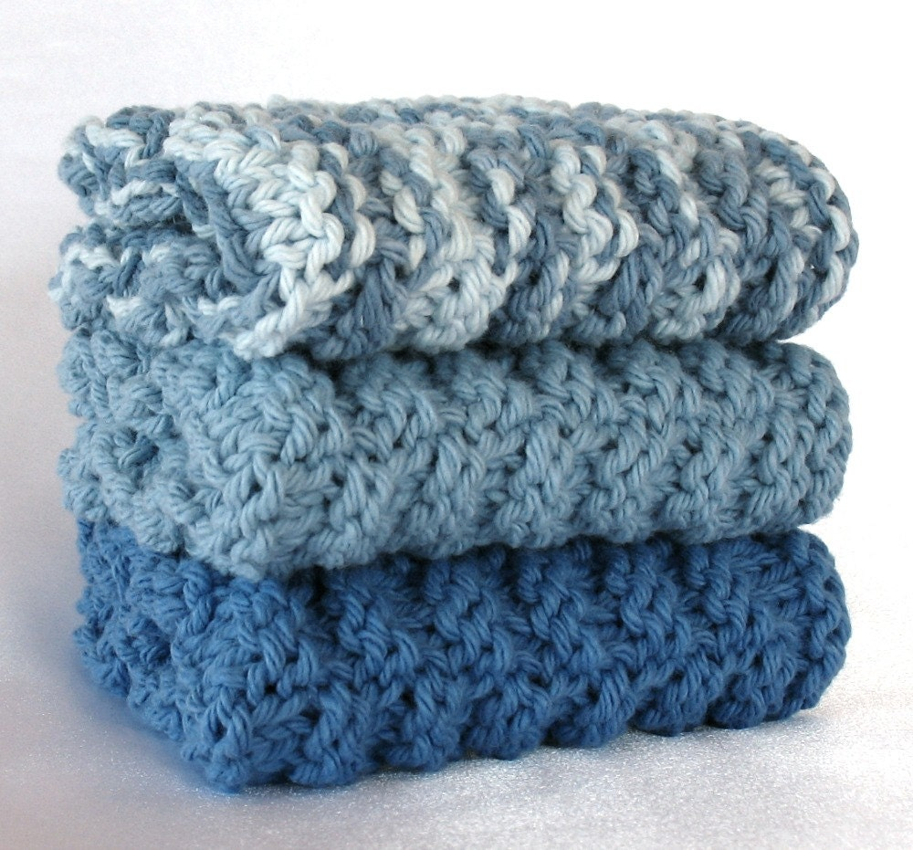 Cotton Dishcloth Knitted Dish Wash Cloth Hand Knit Periwinkle Blue Denim Cornflower Country Soft Face Washcloth - SticksNStonesGifts