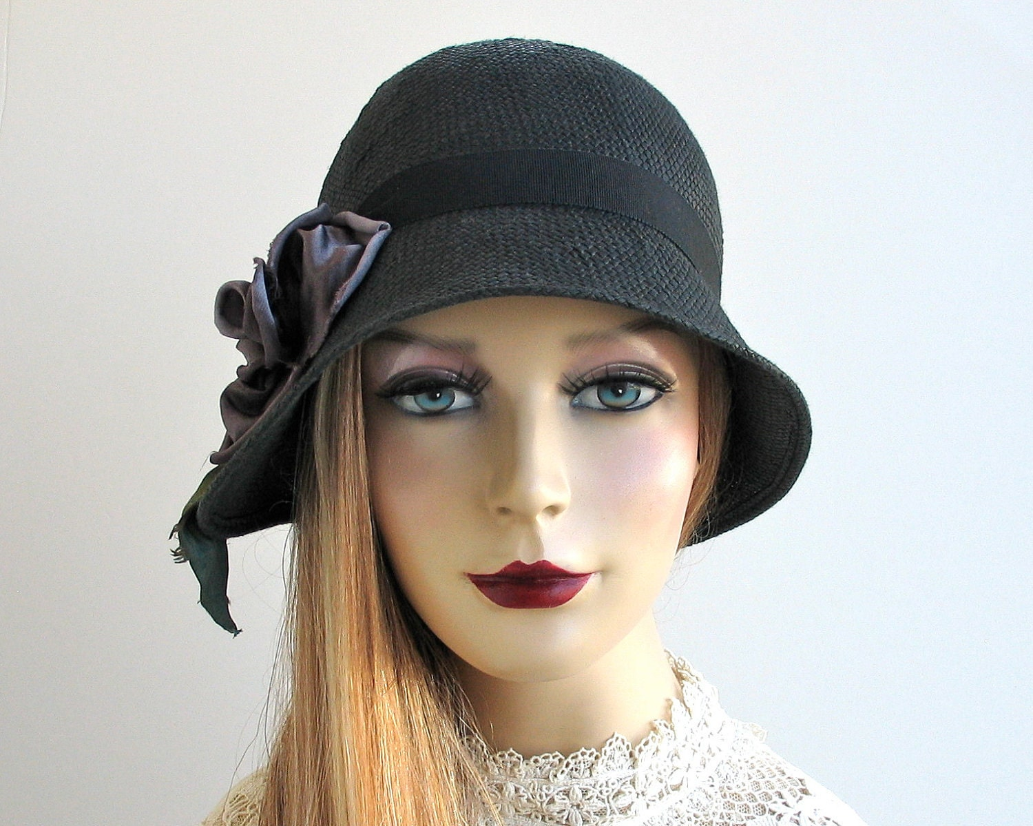 cloche hat black straw hat by katarinahats on