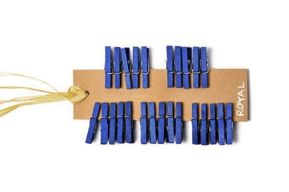 Mini clothespins . 25 royal blue 1 inch pegs . altered small embellishment . scrapbooking clip . small peg . - TodoPapel