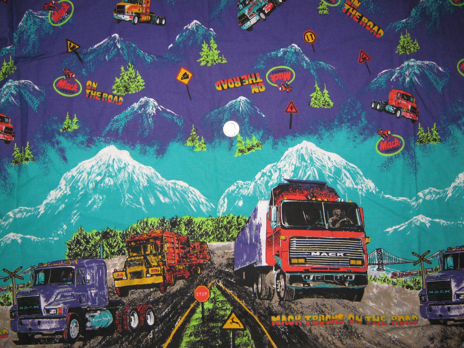 Mack truck border print fabric yard by luckycaroldesigns for Little blue truck fabric