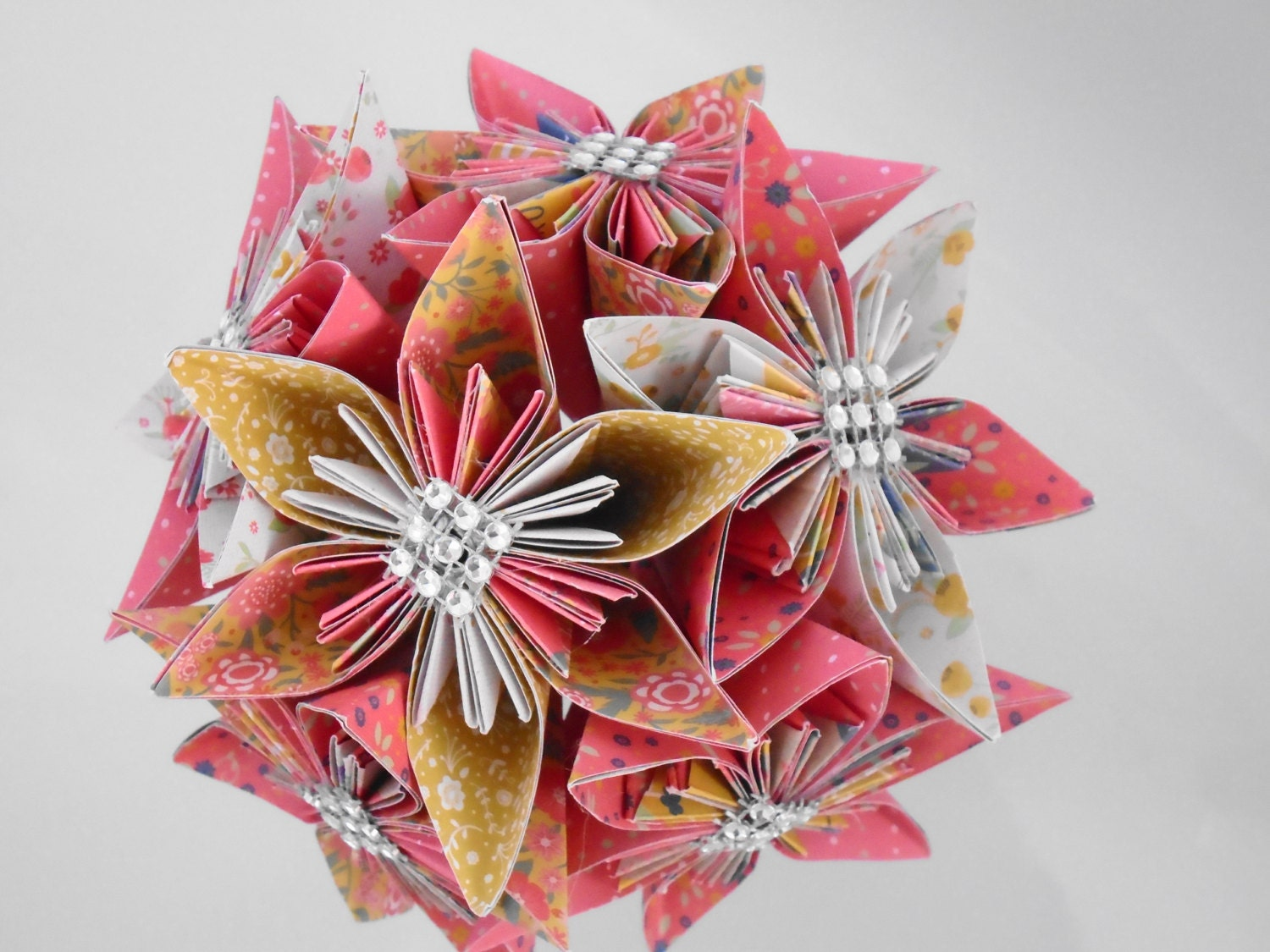Image of Bridesmaids Bouquet, Vintage, Country Style, with large Kusadama Flowers in strawberry and honey folded Paper Flowers, Origami