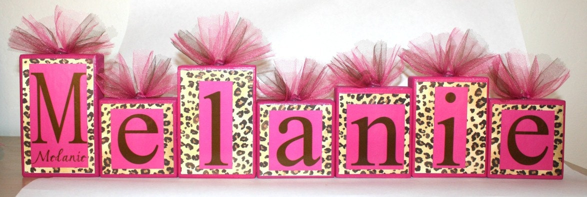 Leopard print with hot pink name blocks melanie by slcshop for Animal print decoration party