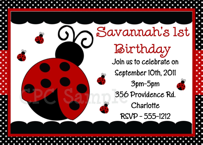 ladybug 1st birthday invitation template