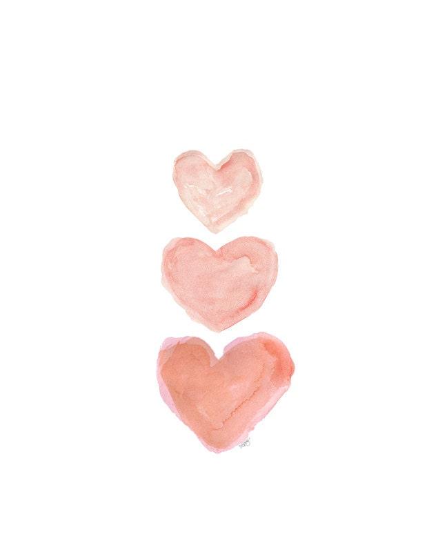 Coral Nursery Watercolor Heart Art - OutsideInArtStudio