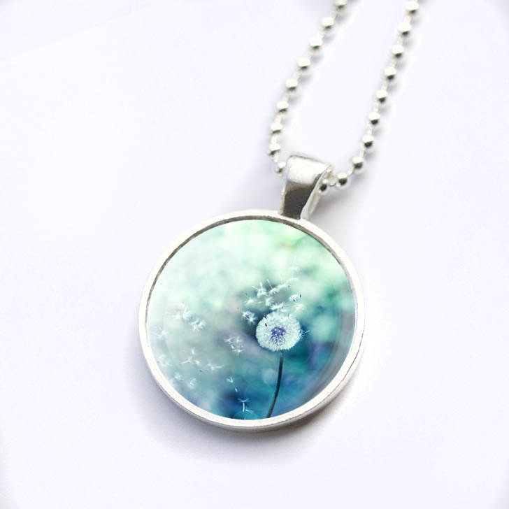 dandelion necklace glass tile pendant photo dome by