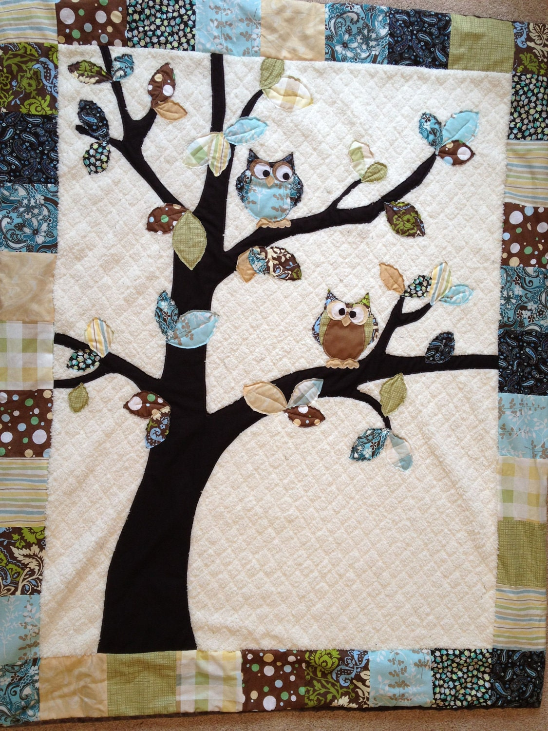 Hand-made Owl Baby Quilt - Customizable