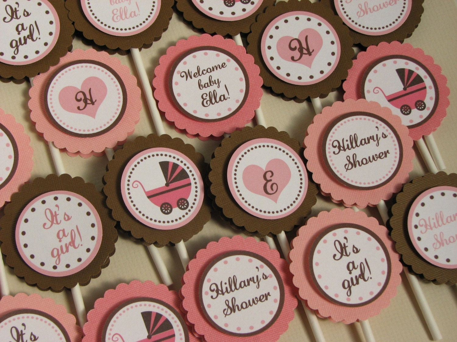 Cake Toppers Baby Shower Etsy : It s a Girl Baby Shower Cupcake Toppers Pink by ...