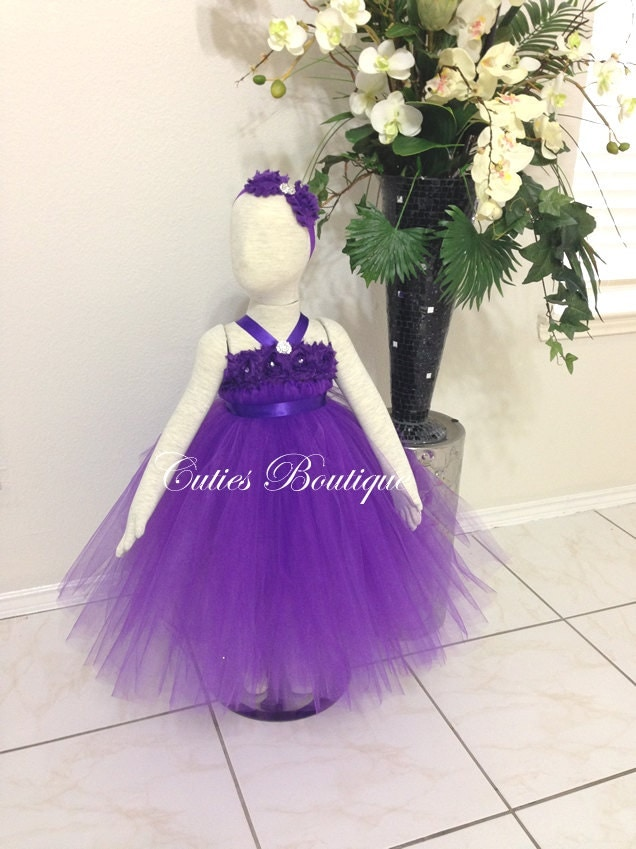 Purple flower dress wedding dress birthday by cutiesboutique