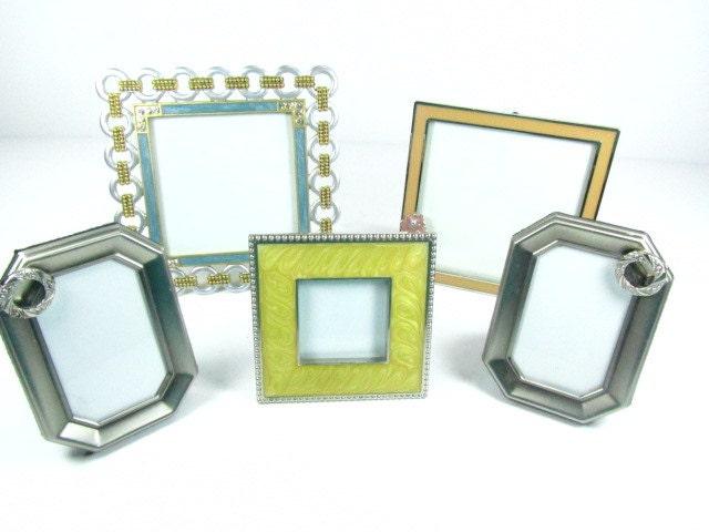 Metal frame,enamel frame, picture frame, frame set, vintage frame set, flower, jewel frame , bling - KarensChicNShabby