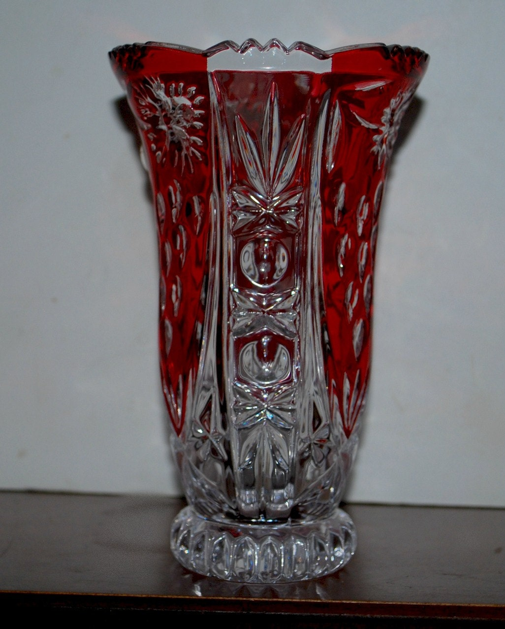 Red And Clear Crystal Vase Lead Crystal Vase By Capecodgypsy
