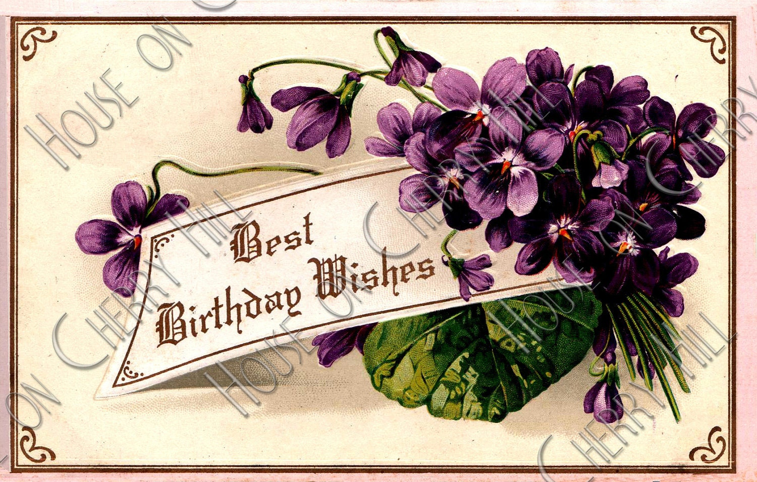 Spring of Violets Digital Postcard - Best wishes - romantic - purple - flower - remember - modest - sweet - Victorian - no.230 - HouseonCherryHill