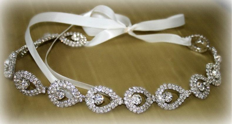 ELSIE- Teardrop Rhinestone Bridal Headband,  Wedding Headpiece, Ribbon, Crystal, Accessories, Bridal, Wedding,