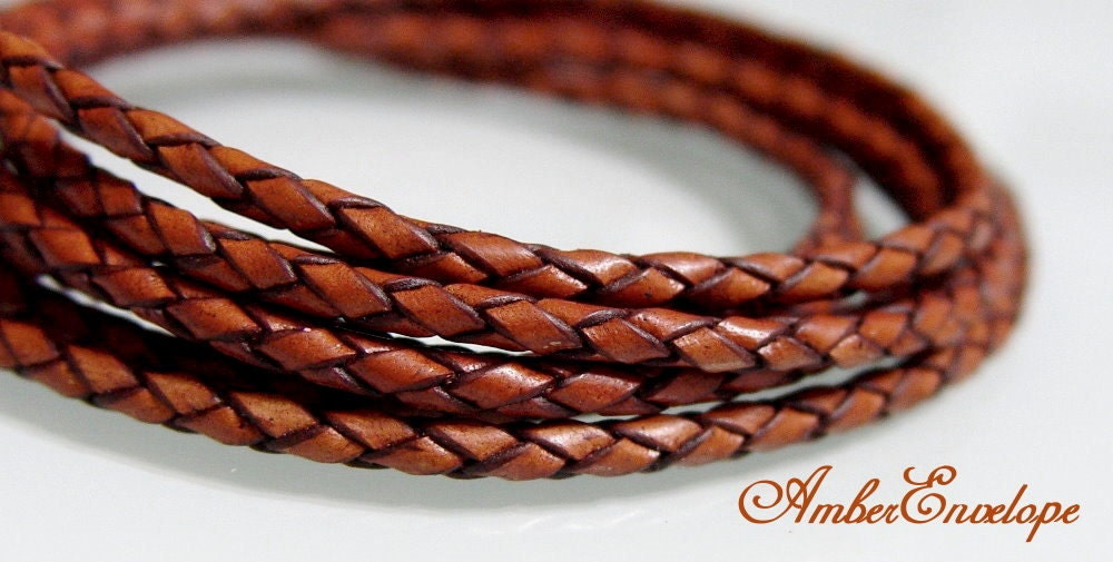 1 Meter of 3 mm  Antique Tan Braided Leather Cord. - AmberEnvelope