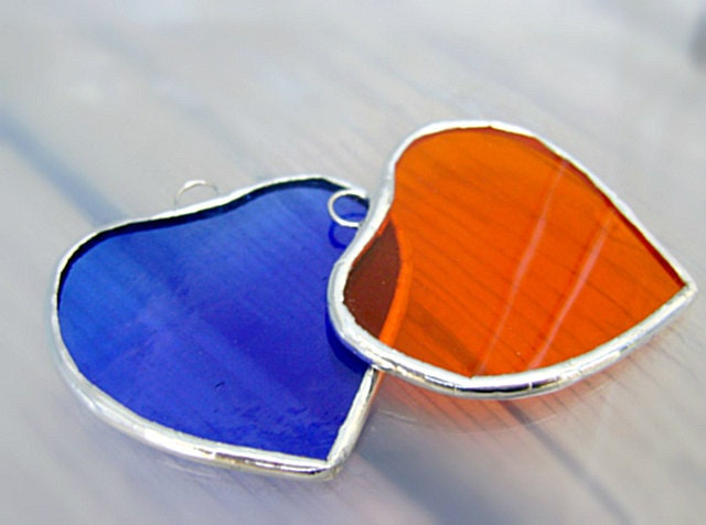 Hearts Stained Glass Shabby Twins Suncatchers ORANGE BLUE Ornament Mothers Day Easter Gifts Valentines Wedding Favors I Love You - GothicGlassStudio