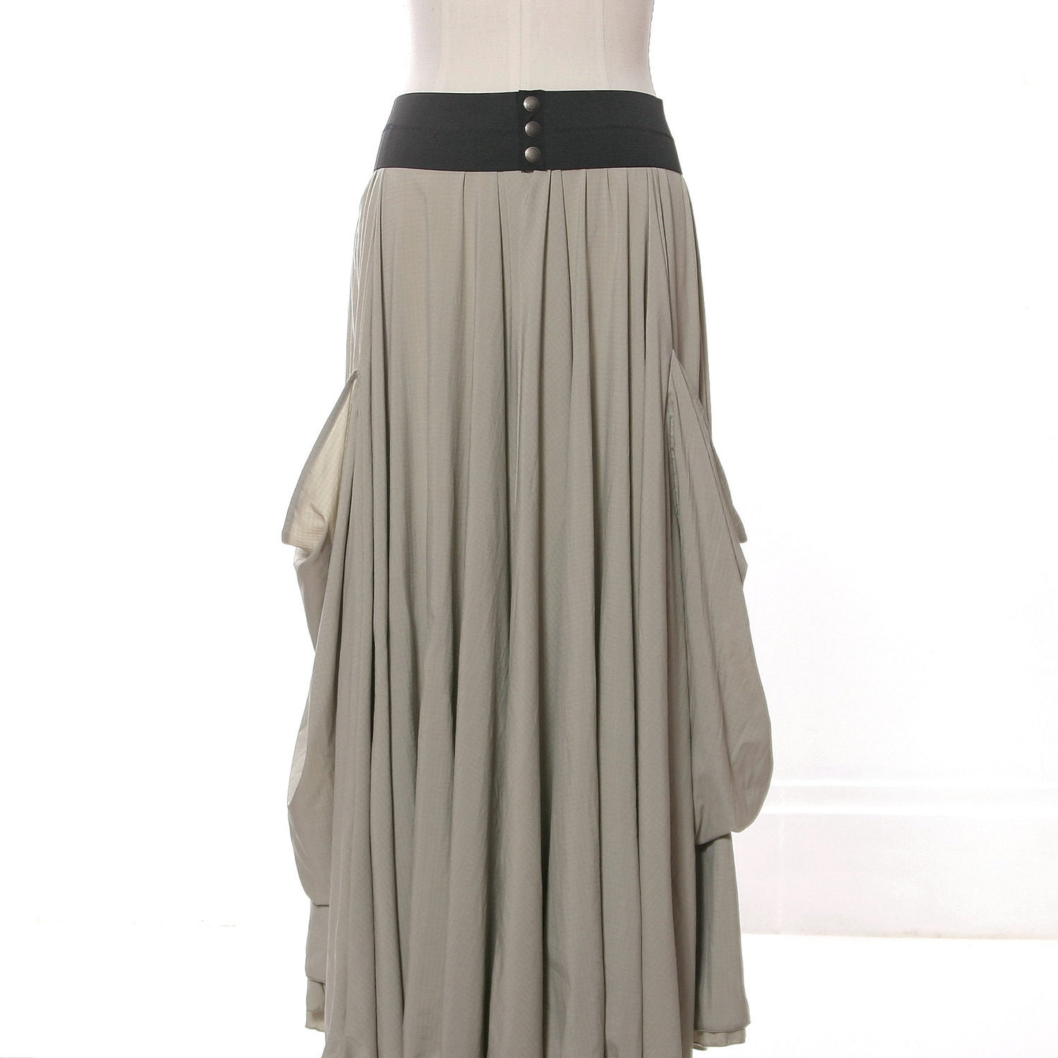taupe maxi skirt with large pockets and by milocreativestudios