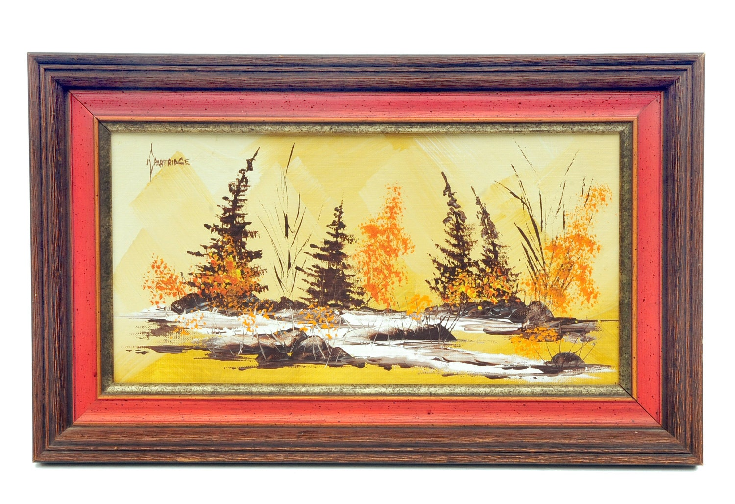 Mid century modern, original oil painting,  forest , pines scene, adirondacks look, gold, brown, amber,orange , recessed wood frame