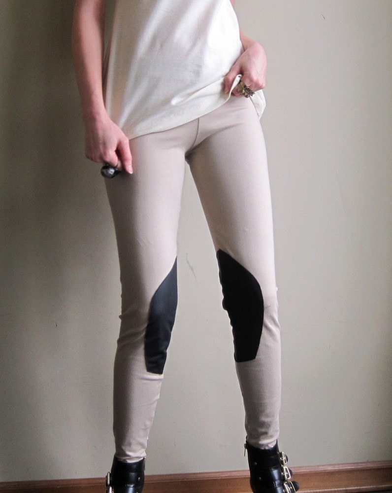 Horse riding leggings - bohemian prairie style, light brown cotton spandex  - medium - Minxshop