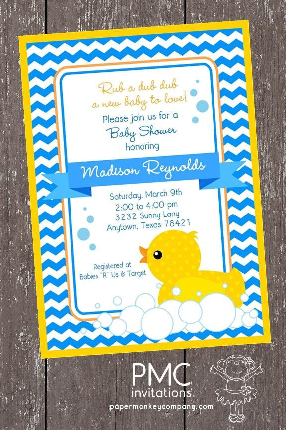 yellow rubber duck baby shower invitations each with envelope
