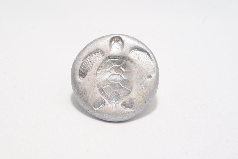 Silver Ceramic Turtle Ring - SandyArtesanias