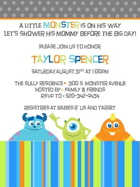 Monster Inc Baby Shower Invitations is an amazing ideas you had to choose for invitation design