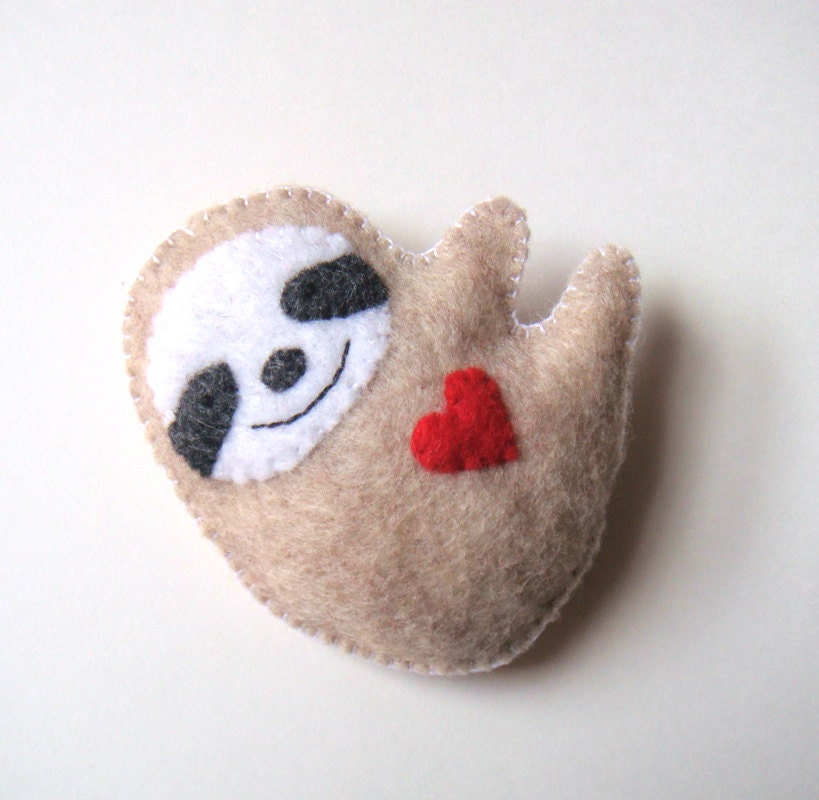 felt brooch cute sloth red heart love soft grey felt by
