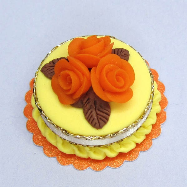 Lemon and orange Dollhouse miniature cake by BlueKittyMiniatures