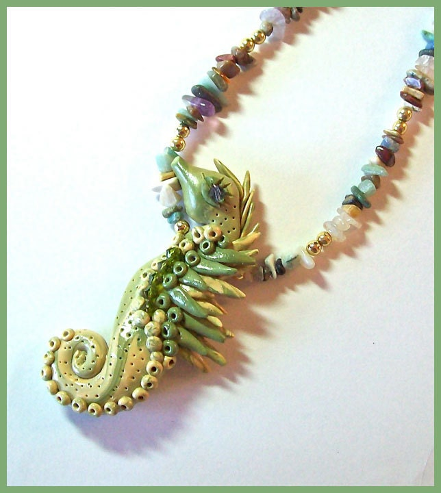 Seahorse Statement Necklace Olive Green Polymer Clay Semi Precious Stone Chips Crystals Ocean Sea Beach - PolymerPanache