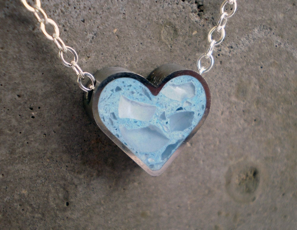 Baby Blue Heart Charm, Powder Blue Concrete, Glass and Stainless Steel - Sterling Silver Necklace