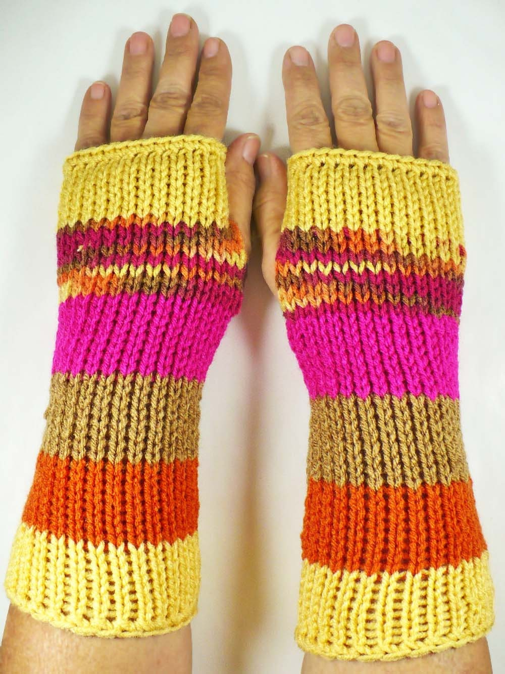 Knit Fingerless Gloves Knit Arm Warmers Knit Wrist Warmers Knit Hand Warmers Knit Fingerless Mittens Yellow Brown Fuchsia Orange - Nothingbutstring