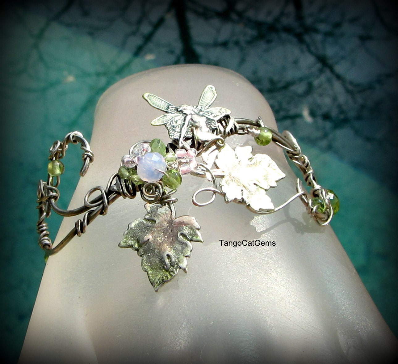 Ivy Scroll Bands: Items Similar To Silver Ivy Faerie Hand Painted Wire